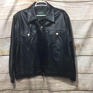 Lauren Ralph Lauren leather coat 1x dark navy